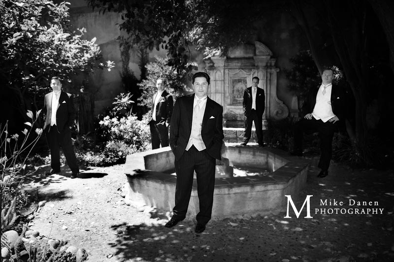 Wedding photographer groomsmen carmel mission mike danen