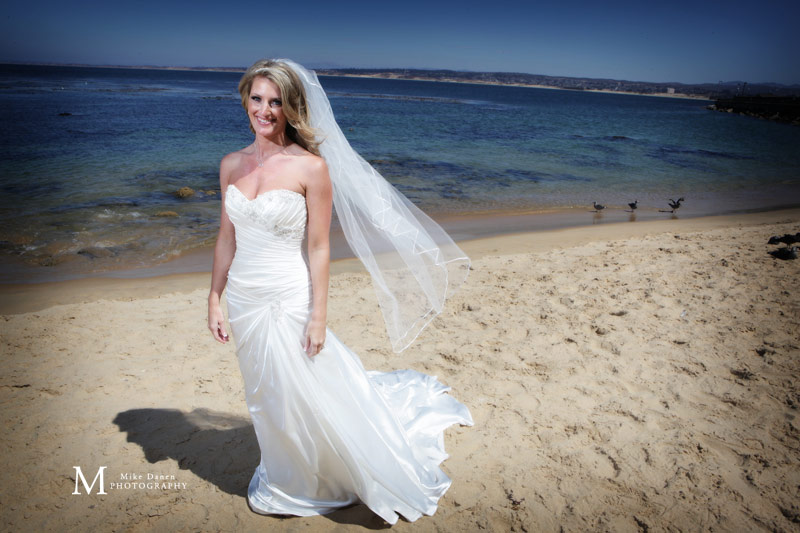 Bride at the beach in Monterey sunny day