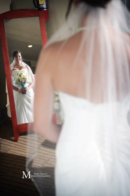 Bride reflection in Mirror Monterey wedding