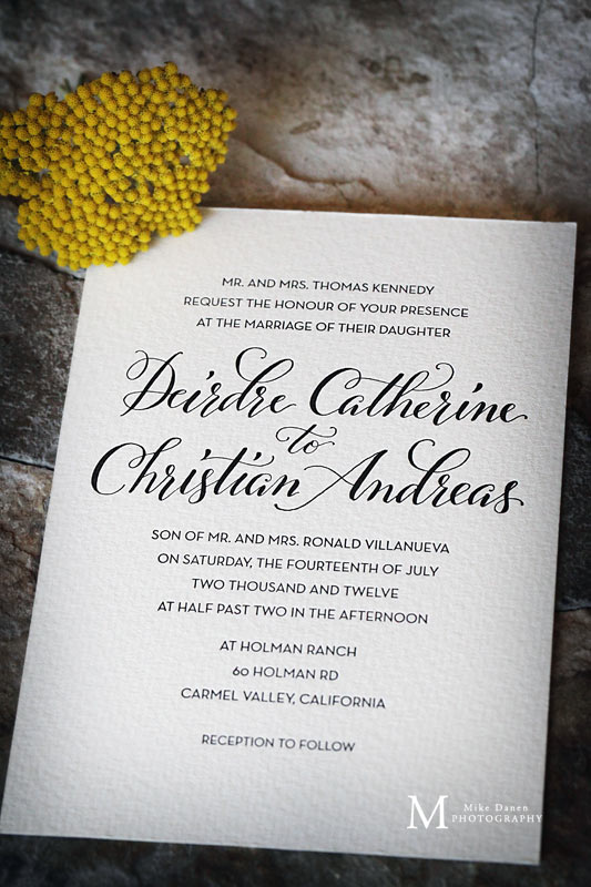 Invitation for wedding at Holman Ranch