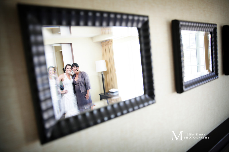 Bride and Mom in mirror