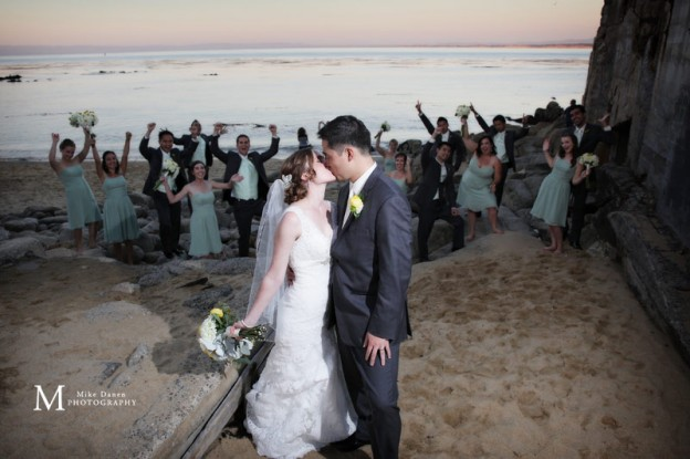Bride & Groom kissing Monterey