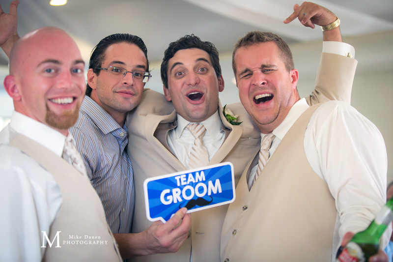 Seascape wedding groomsmen