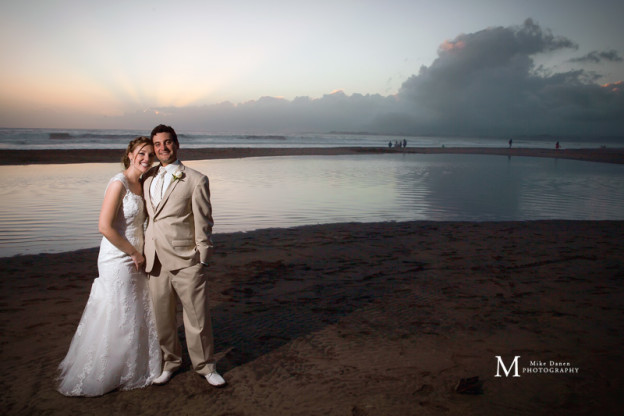 Seascape Beach Resort bride and groom sunset